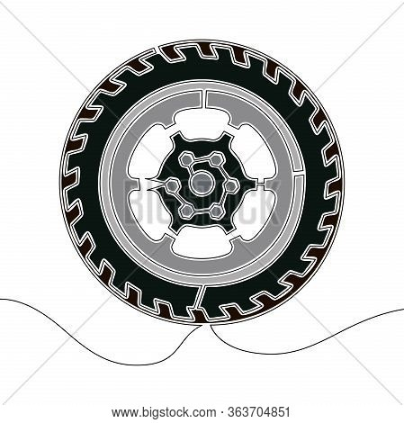 Flat Continuous Drawing Line Art Tire Minimal Icon Vector Illustration Concept