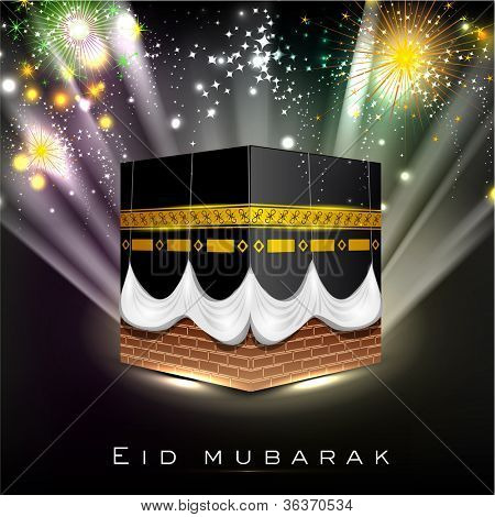 Beautiful View of Qaba or Kabaa Shareef on colorful rays background for celebration of Muslim community festival Eid Mubarak.EPS 10. Vector illustration.