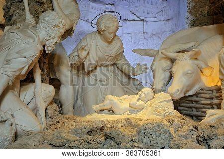 Urbino, Italy - March 24, 2019:  The Nativity Of Brandani In The Oratory Of San Giovanni Battista In