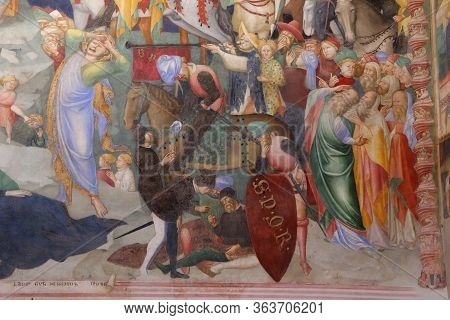 Urbino, Italy - March 24, 2019:  The Wonderful Frescoes Of The Life Of Christ In The Oratory Of San