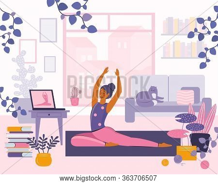 Stay Home Concept. Girl Watching Online Classes On Laptop, Practicing Yoga, Meditation. Live Stream,