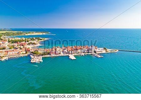Town Of Umag Historic Coastline Architecture View From Above, Archipelago Of Istria Region, Croatia