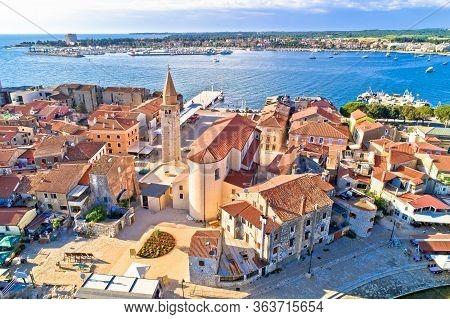 Umag. Aerial View Of Historic Landmarks In Town Of Umag, Istria Region Of Croatia