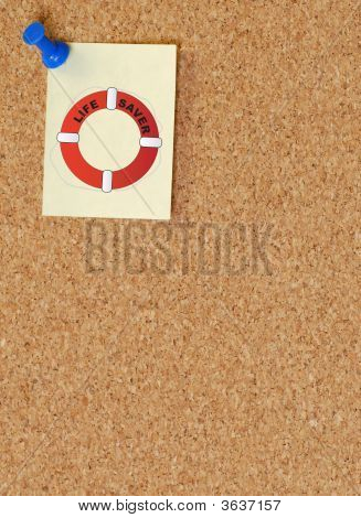 Corkboard With Life Preserver