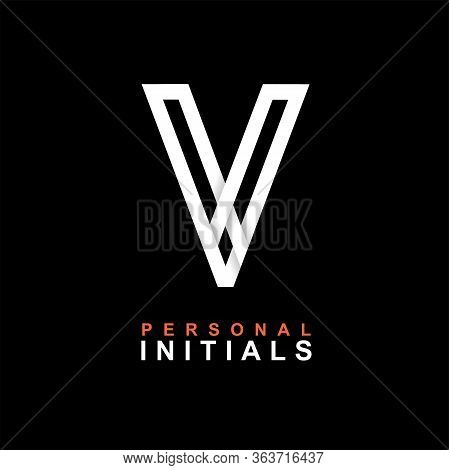 Capital Letter V. Created From Interwoven White Stripes With Shadows On A Black Background. Template