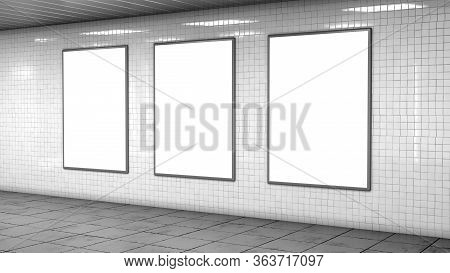 Three Blank Billboard Lightboxes Or Lcd Screens On White Tiles Wall. Empty Street Advertising Signbo