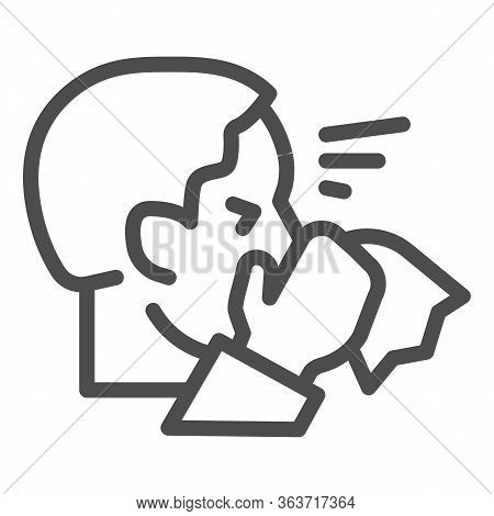 Man With Runny Nose Hold Napkin Line Icon. Sick Person Sneezing Symbol, Outline Style Pictogram On W