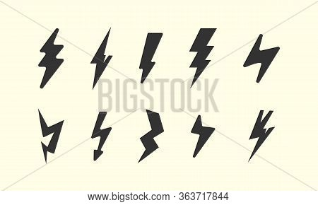Lightning Vector Seamless Pattern. Repeat Background With Hand-drawn Doodle Of Lightning Bolts, Thun