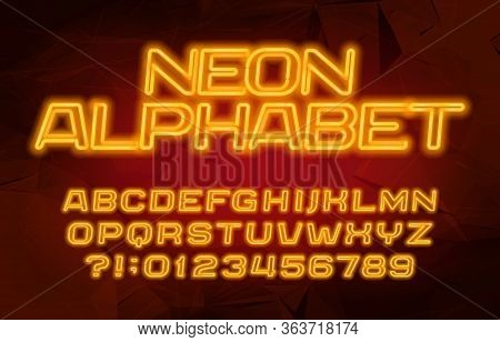 Neon Alphabet Font. Yellow Neon Color Letters And Numbers. Abstract Background. Stock Vector Typescr