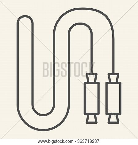 Jump Rope Thin Line Icon. Skip Rope Outline Style Pictogram On Beige Background. Fitness Play Or Exe