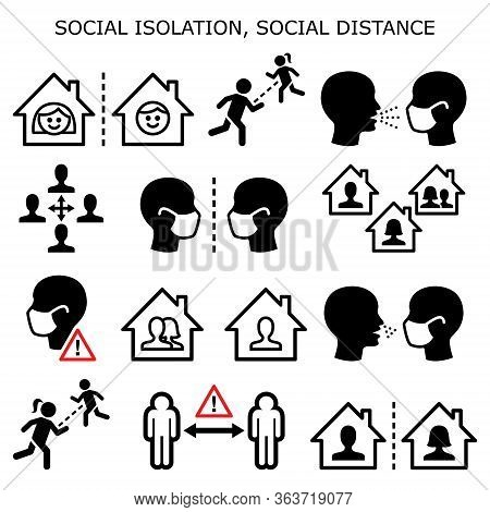 Social Isolation, Social Distance, People On Quarantine Isolated At Home During Pandemic Or Epidemic