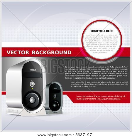 Abstract vector background for brochure or poster with a computer