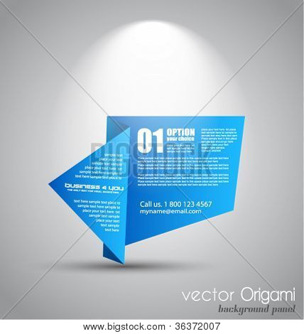 Origami paper style panel with space for text, illuminated by a spotlights  with a grey wall background.