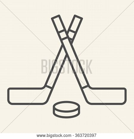 Hockey Sticks Thin Line Icon. Winter Sport Signs Outline Style Pictogram On Beige Background. Crosse
