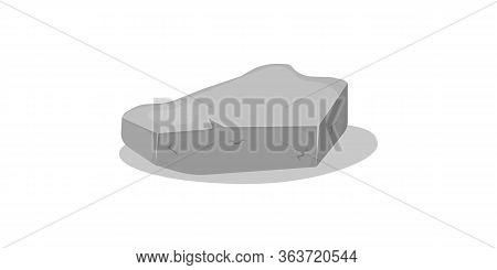 Set Of Gray Granite Stones Of Various 3d Shapes. Graphite Rock, Coal And Rocks On White Background.