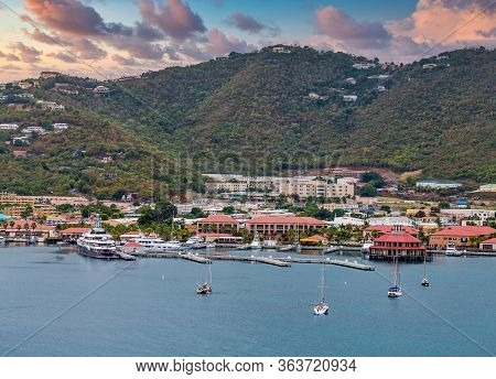 Luxury Yachts And Sailboats Moored In The Bay Off St Thomas In The Virgin Islands