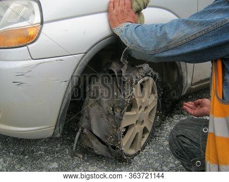 Car Wheel Is Broken, Flat Tire, Drove A Few Minutes On A Broken Wheel Result
