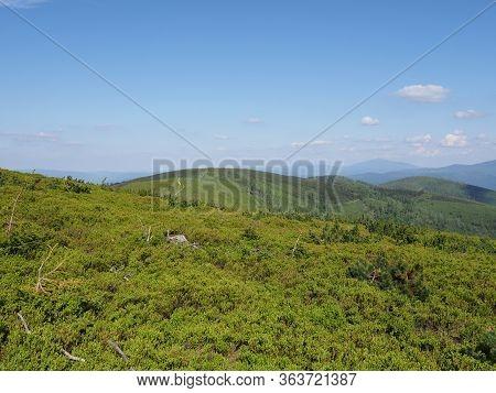 Beskids Mountains Range With Beauty Forrest Near Salmopol Pass View Above European City Of Szczyrk I