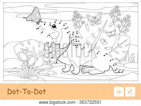 Colorless Vector Contour Dot-to-dot Image Of A Dog Playing With Butterflies On A Meadow Isolated On