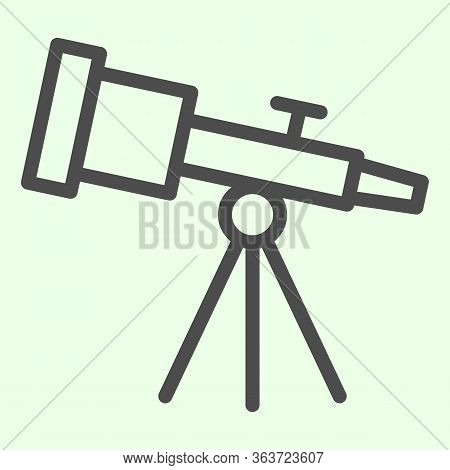 Telescope Line Icon. Astronomy Telescopes Observe Tool Outline Style Pictogram On White Background.