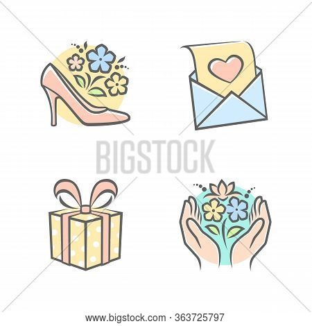 Set Of Congratulation Icons. Main Topics Mother S Day, Congratulations. White Background. Perfect Fo