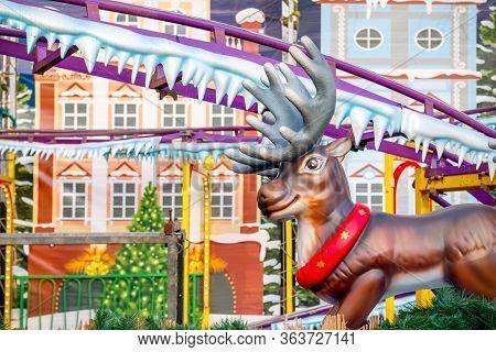 Reindeer Themed Rollercoaster At Christmas Funfair Winter Wonderland In London