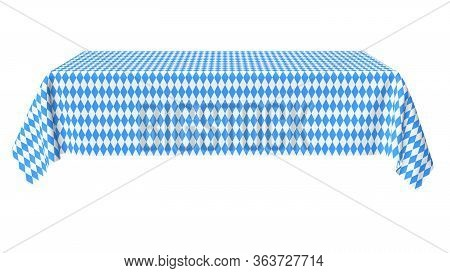 Oktoberfest Rectangular Tablecloth With Blue-white Checkered Pattern Isolated On White, Front View,