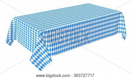 Oktoberfest Rectangular Tablecloth With Blue-white Checkered Pattern Isolated On White, Diagonal Vie