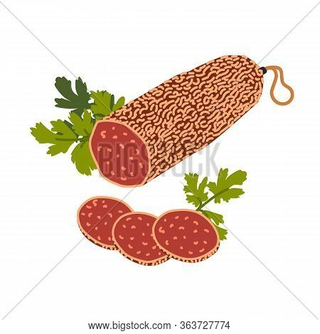 Salami Sausage. Meat Delicatessen On White Background. Slices Of Italian Cured Salami Sausage. Simpl