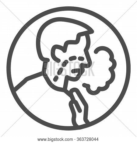Shortness Of Breath Line Icon. Difficulty Breathing, Dyspnea And Covid-19 Outline Style Pictogram On