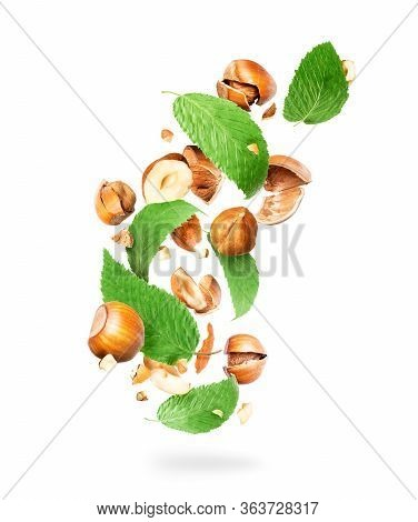 Crushed Hazelnuts With Leaves In The Air, Isolated On White Background