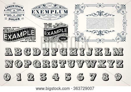 Art Nouveau, Art Deco Stylish Set For Corporate Identity Design, Template For Emblems, Signs, Poster
