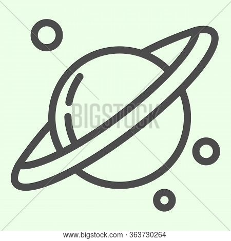 Space And Planets Line Icon. Planet Saturn With Solar Planetary Ring System Outline Style Pictogram