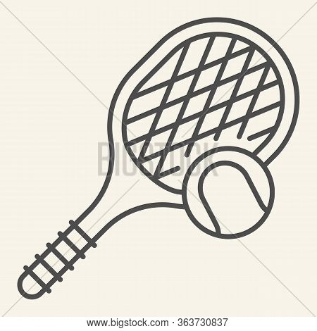 Tennis Thin Line Icon. Tennis Racket And Ball Outline Style Pictogram On Beige Background. Fitness A