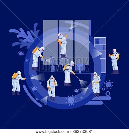 Disinfection Services And Deep Cleaning Concept. Coronavirus, Pandemic. Group Of Janitors In Uniform