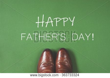 Postcard Until Fathers Day In A Minimal Style On A Green Background. Happy Fathers Day.