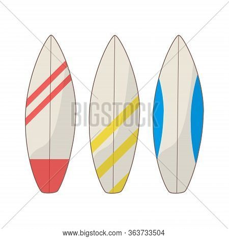 Set Of Surfboard On White Background. Sea Extreme Sport. Wood Surf Board Summer Surfing Trendy Flat