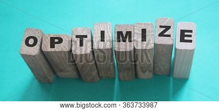 Optimize Word On Wooden Blocks With Letters, Search Engine Optimization Seo Concept, Top View On Cya