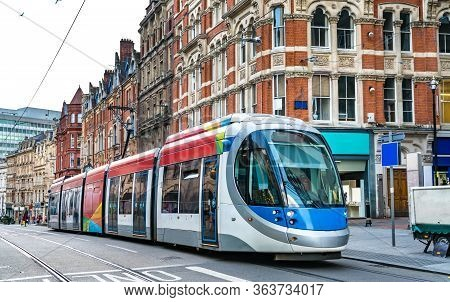 City Tram On A Street Of Birmingham In England