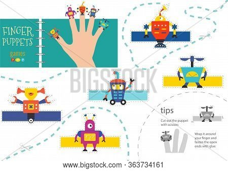 Vector Robotics As Finger Puppets. Cut And Glue Activity For Preschool Kids