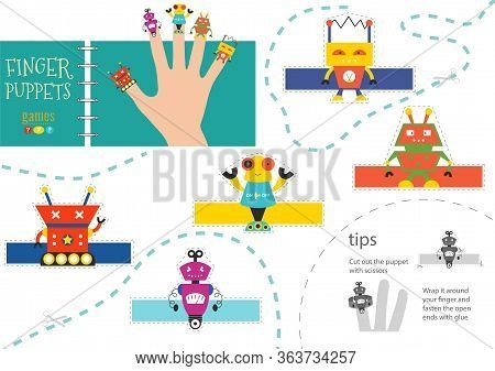 Finger Puppet Vector Robots. Cut And Glue Educational Worksheet For Little Children
