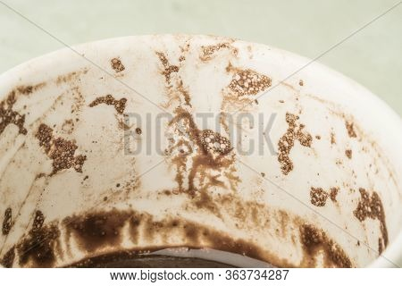Closeup Of Coffee Cup With Grounds For Traditional Way Of Fortunetelling From The Shapes In