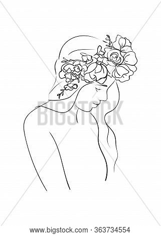 Portrait Of Young Beautiful Woman With Flowers In Long Hair.  Line Drawing. Vector Illustration.