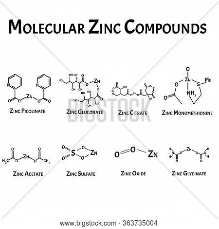 Molecular Compounds Of Zinc. The Chemical Formula Is Picolinate, Citrate, Acetate, Monomethionine, S