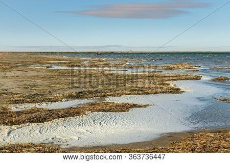Lake Kamyslybas Is A Large Saltwater Lake In Kazakhstan.