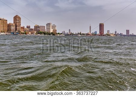 River Nile And Cairo Skyline Dominated By Cairo Tower On Gezira Island In The River Nile, Central Ca