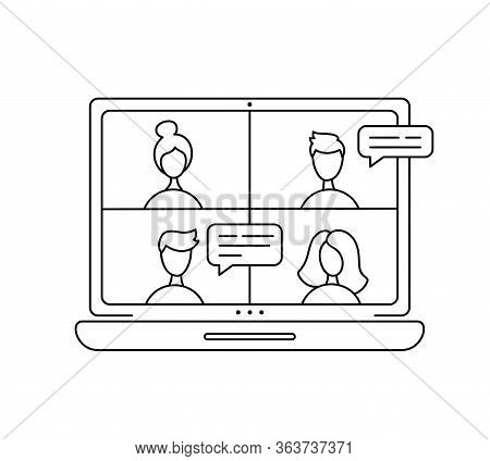Vector Icon Monoline Online Meeting Via Group Call. Four People In Video Chat. Coleagues In Video Co