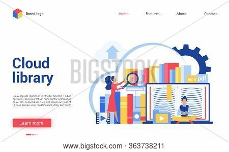 Cloud Library Vector Illustration. Cartoon Flat Tiny People Reading Online Books, Learning Data Info