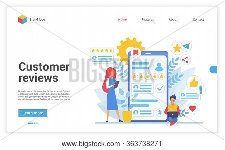 Customer People Review Vector Illustration. Cartoon Flat Client Character Leaving Rating Stars, Onli