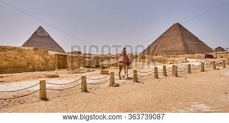Giza Plateau, Cairo / Egypt - May 25, 2019: Giza Plateau With The Giza Pyramid Complex In Cairo, Egy